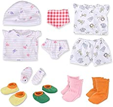 WakaoFeeling Baby Doll Clothes Shoes for 10-11-12 Inch Alive Dolls Include Bibs Mittens Socks Accessories Set
