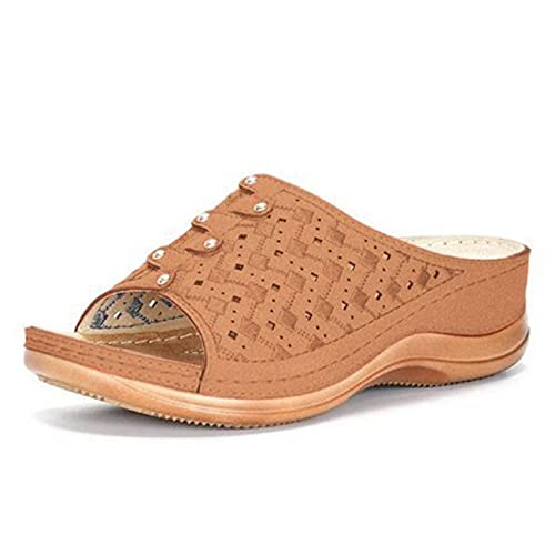 Women s High Heel Sandals Slippers, Summer Beach Shoes Thick Sole, Breathable Comfortable Large Size Slope Heel Slippers (Brown,36)