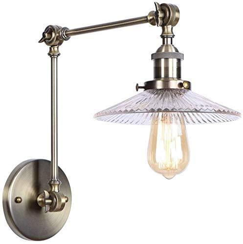 LHJCN Aplique de Pared Industrial Bronce Antiguo Metal Cableado Luz Accesorio clásico Lámpara de Pared Ajustable de transición hacia Arriba y hacia Abajo E27 Iluminación para Dormitorio Be