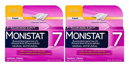 Monistat 7-Day Yeast Infection Treatment, Cream with Disposable Applicators, Pack of 2
