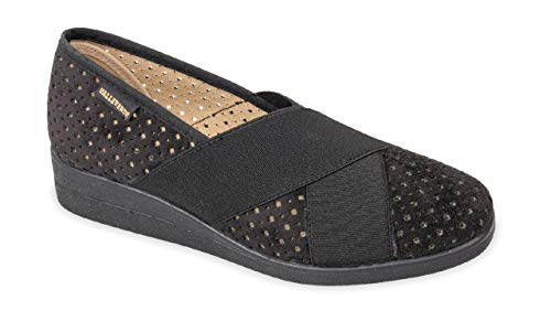 Valleverde Pantofola Donna Tessuto e Pelle 23217 Nero Una Calzatura Comoda Adatta per Tutte Le Occasioni. Primavera Estate 2020. EU 38