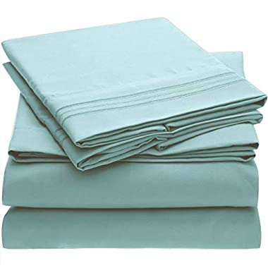 Mellanni Bed Sheet Set - Brushed Microfiber 1800 Bedding - Wrinkle, Fade, Stain Resistant - Hypoallergenic - 4 Piece (Cal King, Spa Blue)