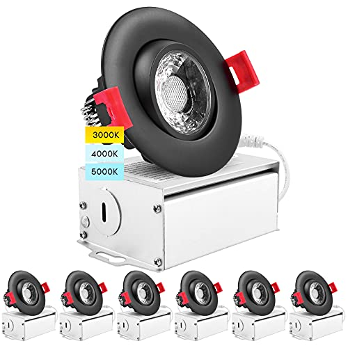 Luxrite 6 Pack 3 Inch Adjustable LED Gimbal Recessed Lighting with J-Box, 3 Color Options 3000K | 4000K | 5000K, 8W=50W, 600 Lumens, Dimmable Canless LED Downlight, IC Rated, Damp Rated - Black