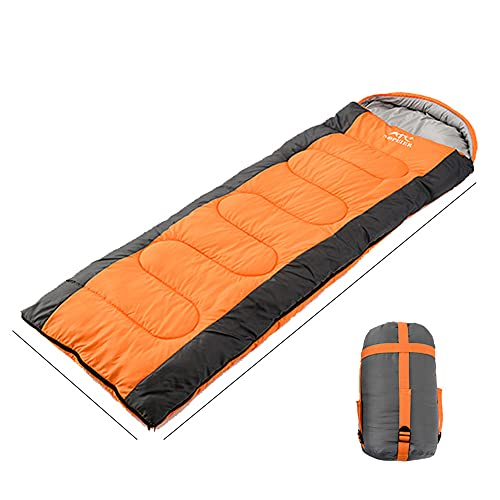 BelleLife Saco de dormir muy ligero y cálido al aire libre de fibra hueca de algodón para camping, senderismo, ligero en bolsa de transporte, saco de dormir para adultos al aire libre, funda naranja