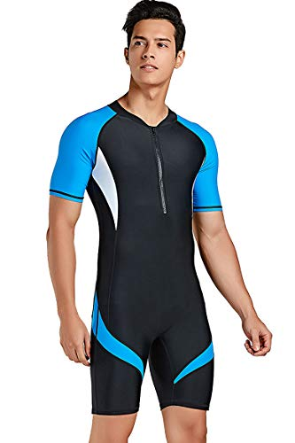 Men's Short Sleeve Sports Skins One Piece Sun Protection Swimsuit Surfing Suit
