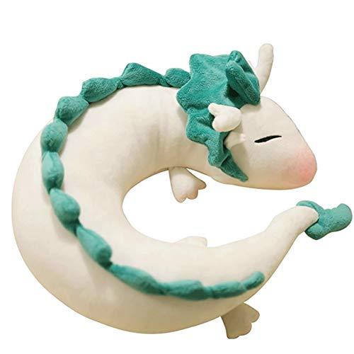 Kacoco Anime Cute White Dragon Nackenkissen U-Förmigen Travel Pillow-Puppe Plüschtier Süßer Kleiner weißer Drache Chihiro Japanisches Animations-Nackenkissen