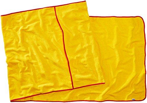 Sowel® strandhanddoek met capuchon overtrek, handdoek voor ligstoel, 100% katoen 220 x 80 cm geel/rood.