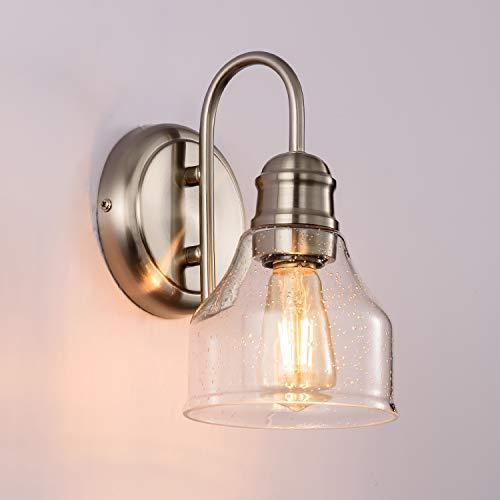SOZOMO Vanity Lighting with Bubble Glass Shade, Applique murale moderne vintage pour salle de bain avec matériel en acier pour maquillage sur-miroir, maison de ferme, éclairage de studio (1 lumière)