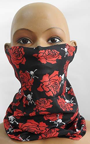 cofi1453 Multifunktionstuch Halstuch Schlauchschal Atmungsaktiv Gesichtschutz Mundschutz Gesichtmaske Totenkopf Rose M18