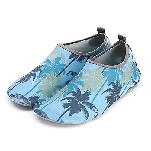 Rojeam Zapatos de Agua Hombre Mujer Playa Escarpines Zapatillas de Deportes Acuáticos, Tamaño-39/40 EU, Árbol de Coco (Tamaño del Fabricante 40-41)