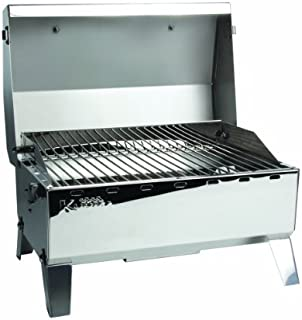 Kuuma Premium Stainless Steel Mountable Gas Grill w/Regulator by Camco -Compact Portable Size Perfect for Boats, Tailgating and More - Stow N Go 125