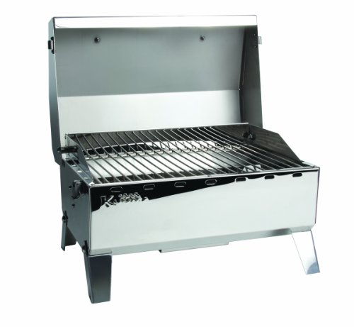 "Kuuma Premium Stainless Steel Mountable Gas Grill w/Regulator by Camco -Compact Portable Size Perfect for Boats, Tailgating and More - Stow N Go 125"" (58140)"