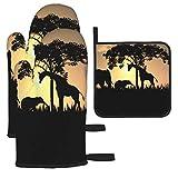 IUBBKI Juego de 3 manoplas y soportes para ollas, silueta de safari africano, guantes de cocina y soportes para ollas, guantes de cocina antideslizantes para cocinar, hornear, asar