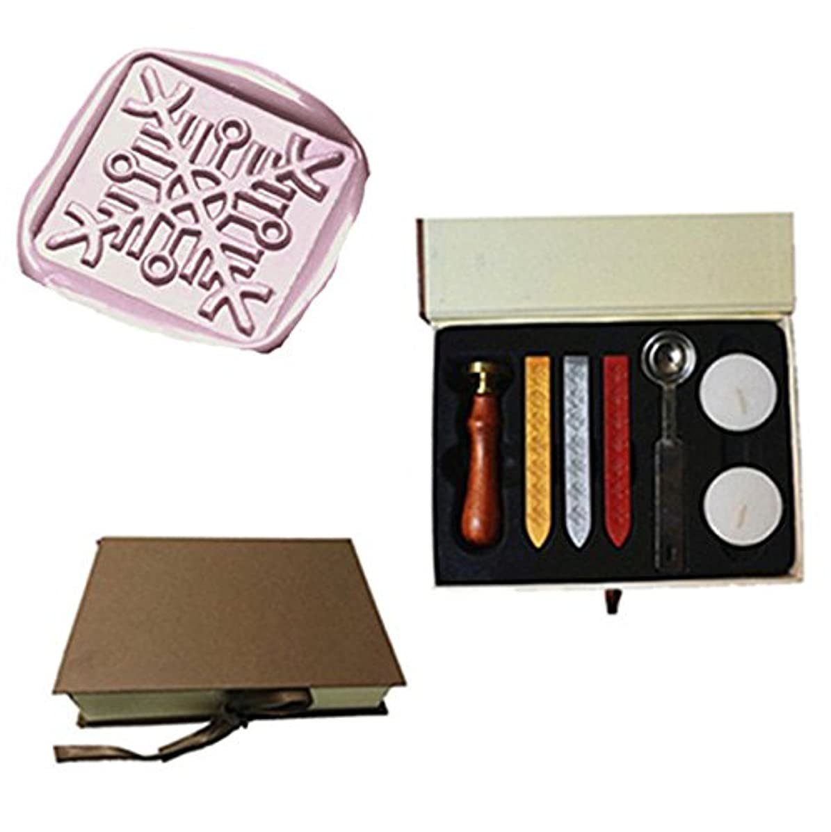MDLG Vintage Square Snowflake Cross Decorative Custom Picture Logo Wedding Invitation Wax Seal Sealing Stamp Sticks Spoon Gift Box Set Kit