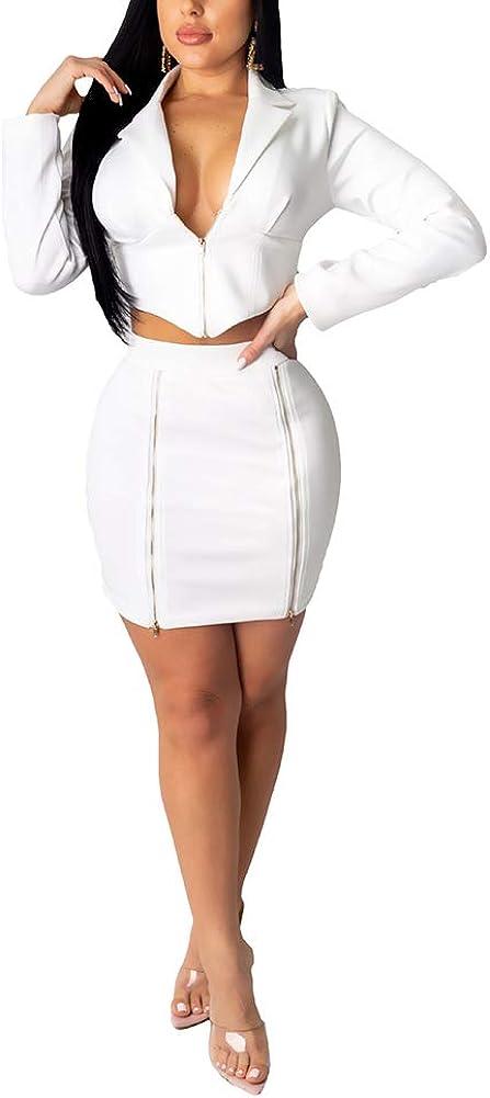 Women Sexy 2 Piece Outfits - Lapel Zipper Long Sleeve Crop Top + High Waist Split Mini Dress Clubwear