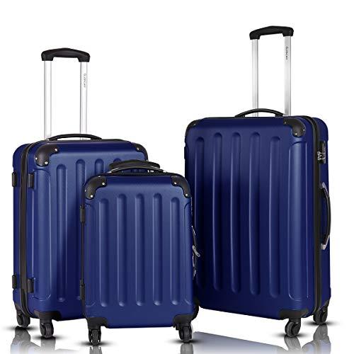 Goplus 3Pcs Luggage Set, Hardside Travel Rolling Suitcase, 20/24/28 Rolling Luggage Upright, Hardshell Spinner Luggage Set with Telescoping Handle, Coded Lock Travel Trolley Case (Dark Blue)