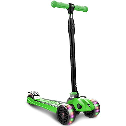 FOLDING 3-wheel scooter Scooter plegable para niños, scooter deslizante deslizante de tres ruedas deslizante, altura, manillar ajustable y plegable, cubierta antideslizante, adecuada para niños y niña