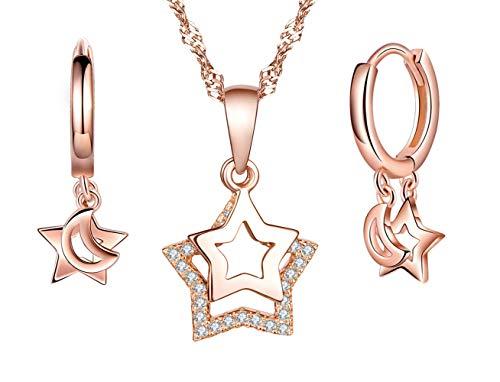 Collar de plata de ley 925 para mujer, colgante de estrella, aretes de estrella, juegos de joyas de estrella, pendientes, oro rosa, regalo de cumpleaños de Navidad