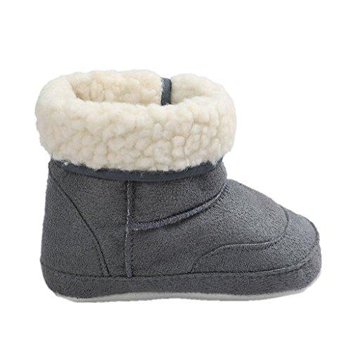 Auxma Baby Schuhe Baby Soft Sole Schnee Stiefel Weiche Krippe Schuhe Kleinkind Stiefel Für 0-6 6-12 12-18 Monat (13cm/12-18 M, Dunkelgrau)