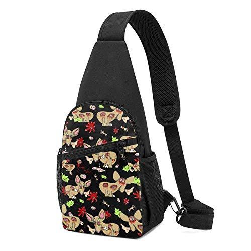 Hdadwy Zombie Chihuahua Hund auf schwarzer Schultertasche, Leichter Schulterrucksack Brusttasche Umhängetaschen Travel Hiking Daypacks für Männer Frauen