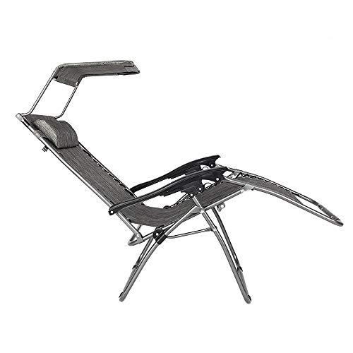 PAWUIO Best Massage Patio Chairs Lounge Chair Zero Gravity Recliner W/Folding Canopy Shade and Cup Holder for Outdoor Funitur with Awning Leisure - Gray
