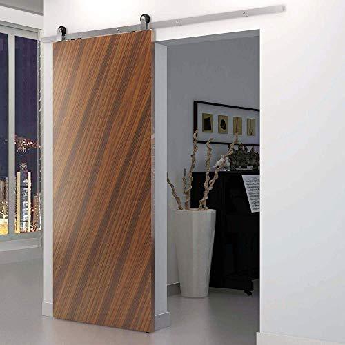 PrimeMatik - Raíl guía para Puerta corredera de Color Acero Mate de 2m fijación Superior