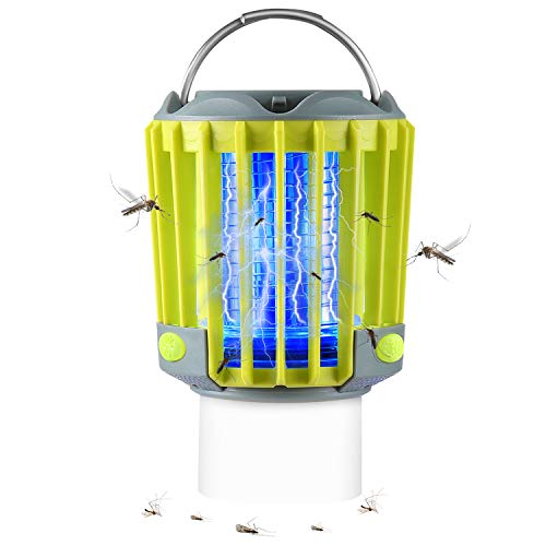 Bug Zapper Portable Camping Lantern with LED Flashlight 3-in-1 Ultra Bright 350LM/2200mAh Battery 16H Lifetime/IP67 Waterproof/SOS Emergency Light/Camping Accessories for Indoor Outdoor Garden Yard