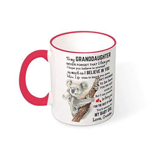 Chicici Fashion Office To My Granddaughter Koala - Taza de cerámica con asa (330 ml), color rojo