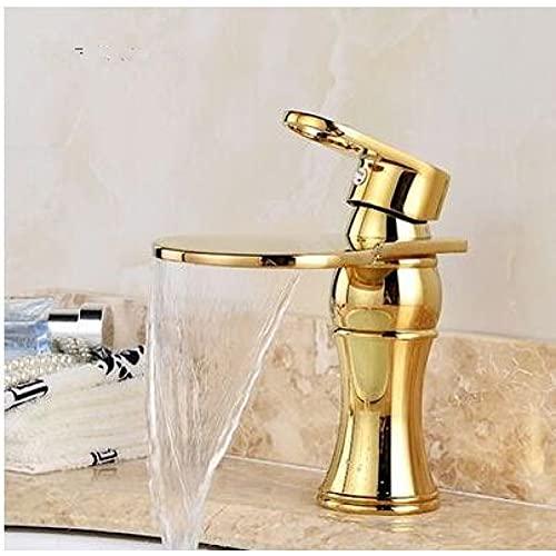 Grifo de lavabo Grifo de baño de aceite negro / dorado moderno Grifo de cascada Grifo de un solo orificio Grifo de agua fría y caliente Grifo de lavabo Grifo mezclador