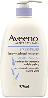 Aveeno Stress Relief Body Wash for Dry Skin with Colloidal Oatmeal, Ylang Ylang, Chamomile and Lavender, 975 mL