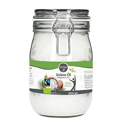 borchers Bio-Fairtrade Kokos-Öl, Im Bügelglas, Naturbelassen, Zum Kochen & Backen, Kokosöl, Kokosnussöl 1000 ml