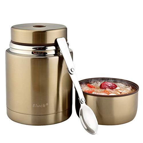 Eluck Thermobehälter für Essen Große Kapazität 800ml Edelstahl Thermo Speisebehälter Isolierbehälter Lunchbox mit Löffel Speisegefäß BPA freier (Champagner Gold)