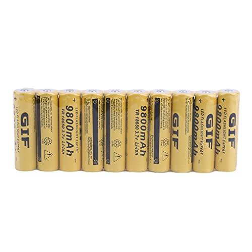 10Stück 18650 Batterie mit großer Kapazität,3.7v/ 9800mah Akku,18650 Lithiumbatterien Li-Ion Bateria, für Power Bank Scheinwerfer,Taschenlampen,Starke Leistung und geringe Selbstentladung(18mmX65mm)