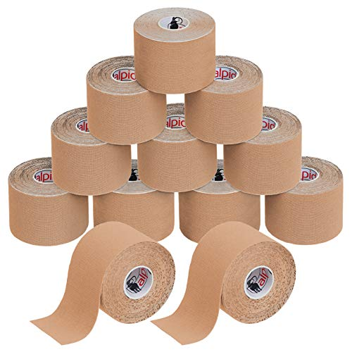 BB Sport 12 Rolls Kinesiology Tape 5 m x 5 cm E-Book Application Examples Muscle Support Elastic Strapping Tape, Colour:Skin-Coloured