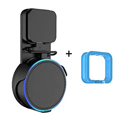 Cozycase Socket Wall Mount Hanger Holder Stand for Dot 2nd Generation(2017 Release) Without Mess Wires Or Screws, Extra Blue-frame compatible with Power adapter 2016 Release -Black by Cozycase