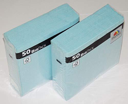 100 Stück Servietten FASANA # 3-lagige Papierservietten hellblau # Farbcode: ibiza blue 335 - Serviette 1/4-Falz Größe: 33x33 cm 13x13 in - Dekoservietten - Zelltuchservietten