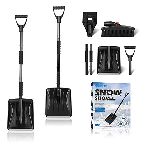 CLISPEED 3-in-1 Snow Shovel Kit Portable Snow Shovel with Ice Scraper and Snow Brush (Black)