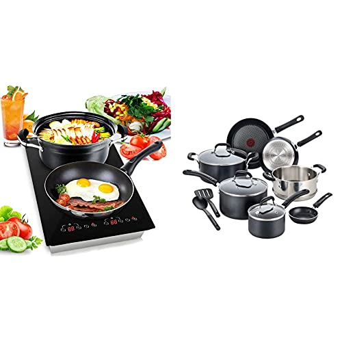 NutriChef - Dual 120V Electric Induction Cooker - 1800w Digital Ceramic Countertop Double Burner Cooktop - Black & T-fal Professional Nonstick Dishwasher Safe Cookware Set, 12-Piece, Black