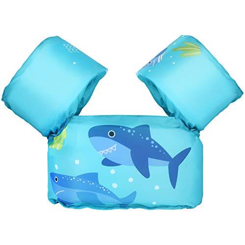 MoKo Manguitos de Flotante Sin Inflación, Chaleco para Natación con Patrón Lindo, Dispositivo de Entrenamiento Plegables para Niñas y Niños en Piscina Playa Parque Acuático, Tiburón Azul