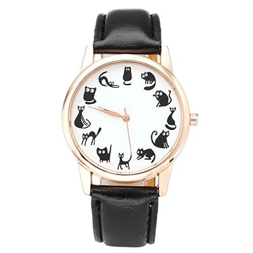 JSDDE Uhren,Fashion Cute Cartoon Kätzchen Katzen Armbanduhr PU Lederband Damenuhr Rosegold Analog Quarzuhr,Schwarz