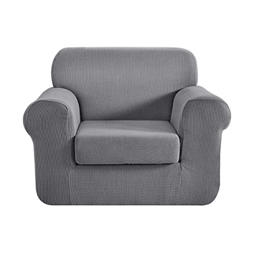 CHUN YI 2-Stück Sofa Überwürfe Jacquard sofabezug 1-sitzer Sofa überzug Elastische Stretch Spandex Couchbezug Sofahusse Sofa Abdeckung (1-Sitzer, Hellgrau)