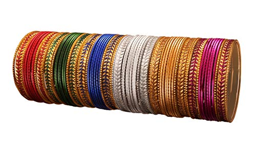 Touchstone New Indian Bollywood Metallic Colorful Bangle Collection Handcrafted Pretty Six Gorgeous Colors Golden Glitters Special Large Size Bangle Bracelets Set of 72 in Gold Tone for Women.