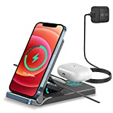 Chargeur à Induction, 3 en 1 Chargeur sans Fil 15W Universel Qi Portable Pliable Rapide Charger...