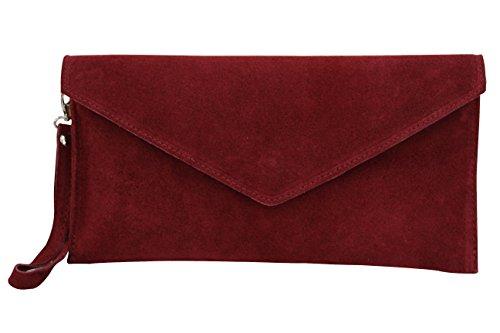 AMBRA Moda Damen Wildleder Envelope Clutch Handschlaufe Handtasche Schultertasche Unterarmtasche Damentasche Veloursleder WL801 (Bordeaux)