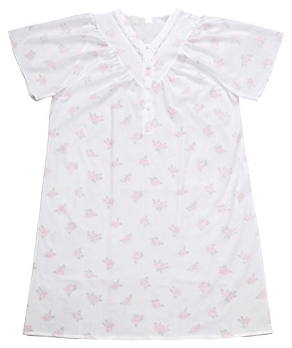AdoniaMode Damen Nacht-Hemd Nachtkleid Sleepshirt Nachtwäsche V-Ausschnitt Knopfleiste Kurzarm Knie-lang Batist 34-04 Rose Rosa Gr.48/50