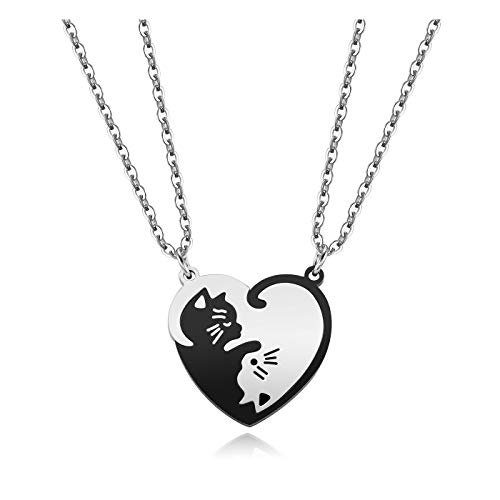 JSDDE Couples Heart Matching Necklace Yin Yang Cat Hug Puzzle Necklace for...