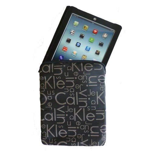 Calvin Klein CKJ – beschermhoes voor iPad, Jacquard, zwart, logo, beige