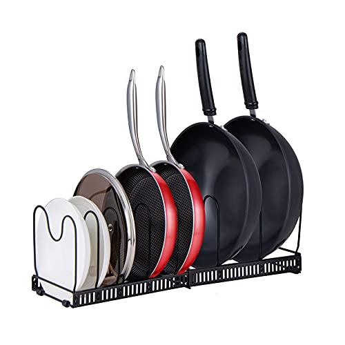 Organizador de tapa para ollas, organizador de ollas y sartenes expandibles con 12 compartimentos ajustables, organizador de despensa para gabinete de cocina