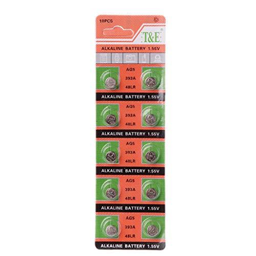 smallJUN 10Stück Alkaline Batterie Knopfzelle AG5 LR754 393 SR754 193 546 RW28 48 Hörgerät Kopfhörer Uhrenbatterien Hörgerät Headset Batterie