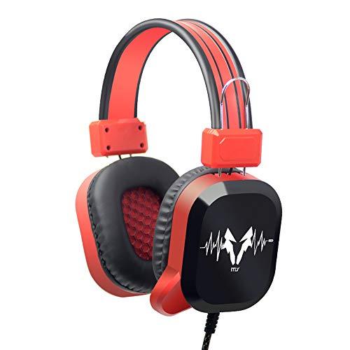 DNACC 7.1 Surround Sound Gaming Headset 50MM Treiber 3.5mm Jack Headphone Rauschunterdrückung Mikrofon Einstellbarer Kopfbügel LED-Licht Gaming Kopfhörer für PS4/XBox One/PC/Mac(Rot)